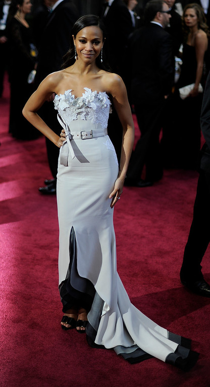 . Zoe Saldana arrives at the 85th Academy Awards at the Dolby Theatre in Los Angeles, California on Sunday Feb. 24, 2013 ( Hans Gutknecht, staff photographer)