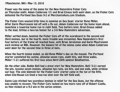 FisherCats game 5/13/2010