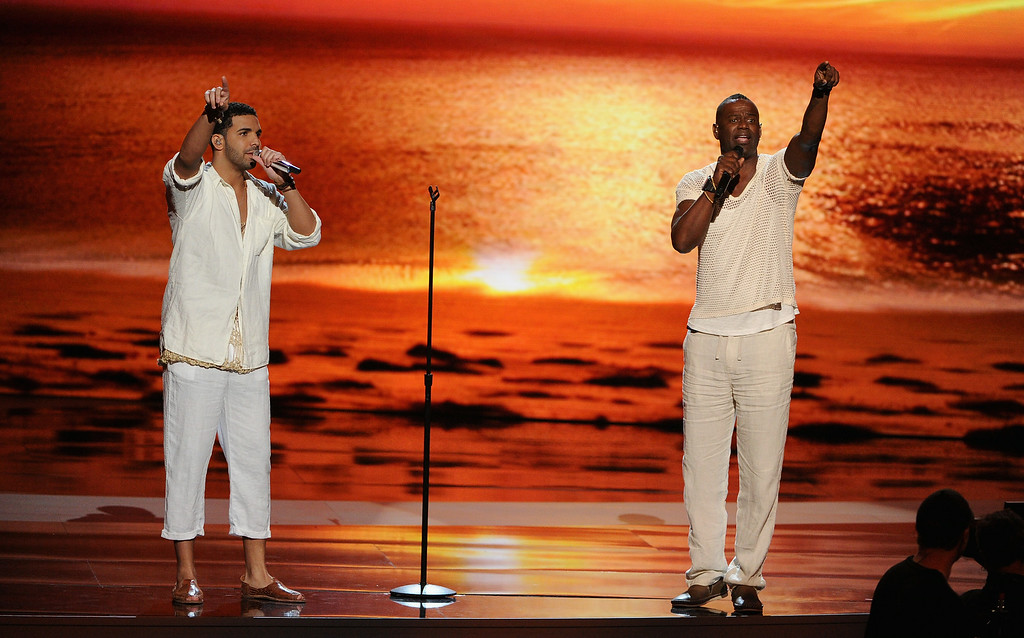 . LOS ANGELES, CA - JULY 16:  Host Drake (L) and singer Brian McKnight perform onstage during the 2014 ESPYS at Nokia Theatre L.A. Live on July 16, 2014 in Los Angeles, California.  (Photo by Kevin Winter/Getty Images)