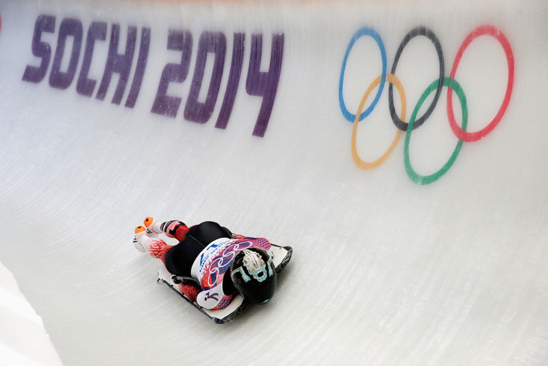 . Mellisa Hollingsworth of Canada during the Women\'s Skeleton heats on Day 6 of the Sochi 2014 Winter Olympics at Sliding Center Sanki on February 13, 2014 in Sochi, Russia.  (Photo by Adam Pretty/Getty Images)