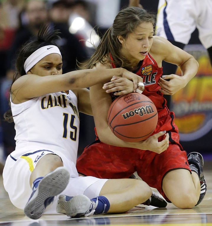 . California guard Brittany Boyd (15) and Louisville guard Jude Schimmel (22) battle for a rebound in the second half of a national semifinal at the Women\'s Final Four of the NCAA college basketball tournament, Sunday, April 7, 2013, in New Orleans. (AP Photo/Gerald Herbert)