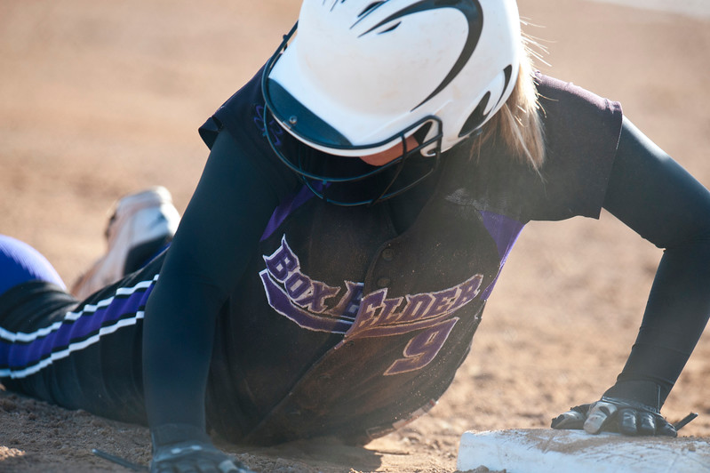 Box Elder's Ashlee Blacker #9 slides into third base at the game against Fremont High School. In Plane City on March 5, 2015.
