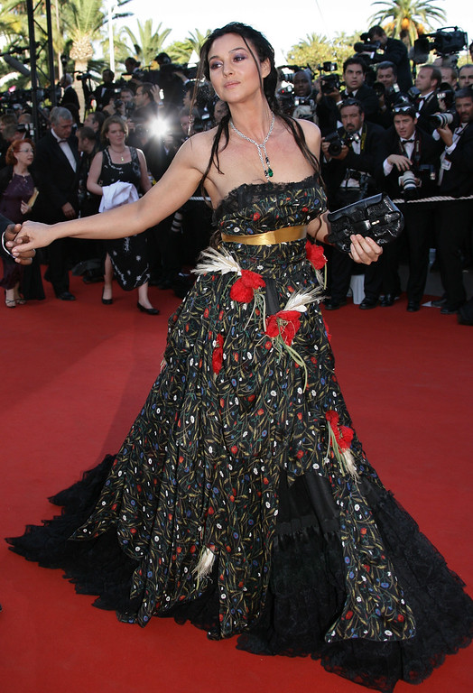 ". Italian actress Monica Bellucci arrives for the screening of the film ""Marie-Antoinette,\"" at the 59th International film festival in Cannes, southern France, on Wednesday, May 24, 2006.  (AP Photo/Francois Mori)"