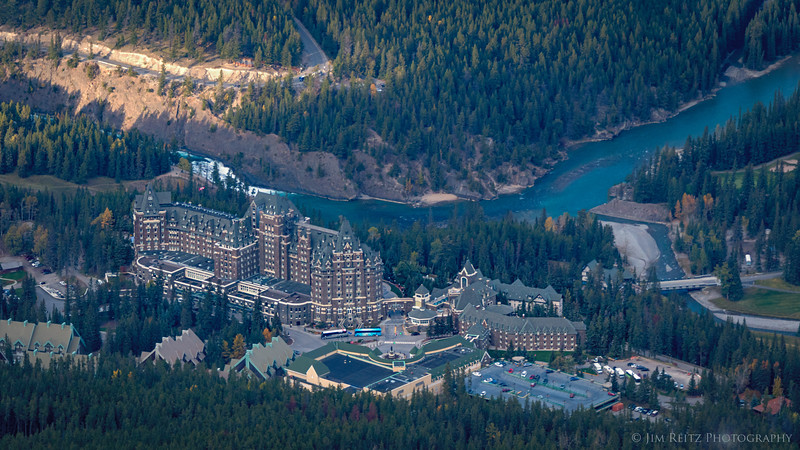 Fairmont Banff Hotel - view from Sulphur Mountain
