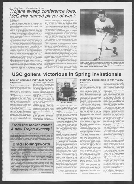 Daily Trojan, Vol. 95, No. 54, April 04, 1984