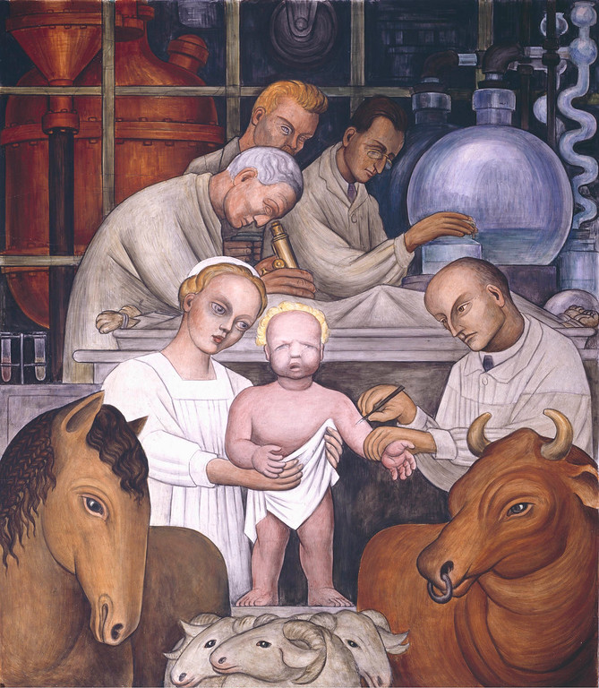. Detroit Industry, north wall (detail), Diego Rivera, 1932-33, fresco. Detroit Institute of Arts (vaccination)
