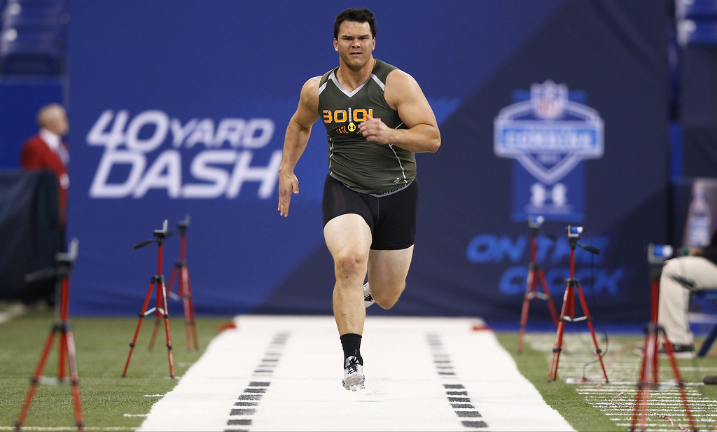 . Former Texas A&M offensive lineman Jake Matthews runs the 40-yard dash during the 2014 NFL Combine at Lucas Oil Stadium on February 22, 2014 in Indianapolis, Indiana. (Photo by Joe Robbins/Getty Images)