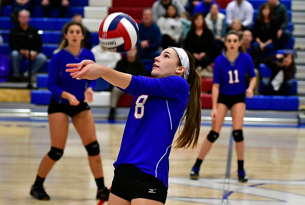 11/7/2018 Mike Orazzi | Staff St. Paul Catholic High School's Alexis Carabetta (8) during the Class S Second Round Girls Volleyball Tournament with Immaculate in Bristol Wednesday night.