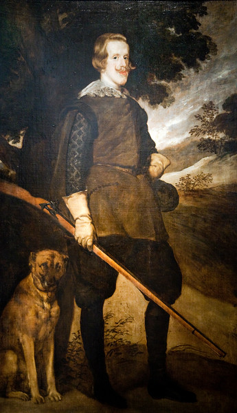 Portrait of the King of Spain Philip IV, as a hunter, by Diego de Velazquez. This copy belongs to the Goya Museum of Castres (France). The Prado Museum (Madrid) copy is later and it shows the king wearing a hat.