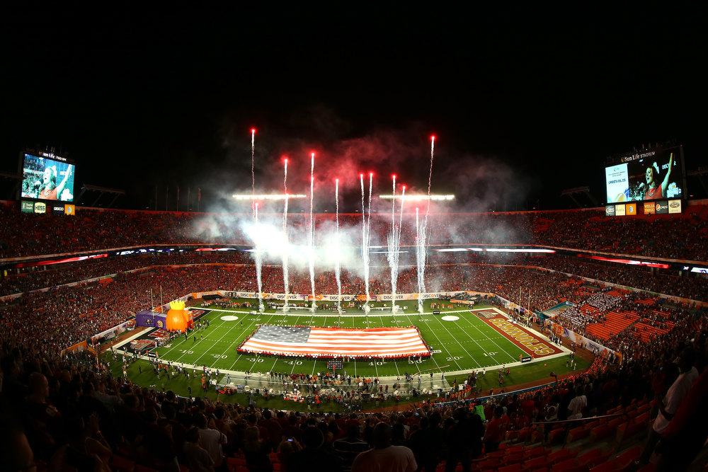 Description of . A general view of fireworks as they are set off during the performance of the National Anthem prior to the Florida State Seminoles playing against the Northern Illinois Huskies during the Discover Orange Bowl at Sun Life Stadium on January 1, 2013 in Miami Gardens, Florida.  (Photo by Mike Ehrmann/Getty Images)
