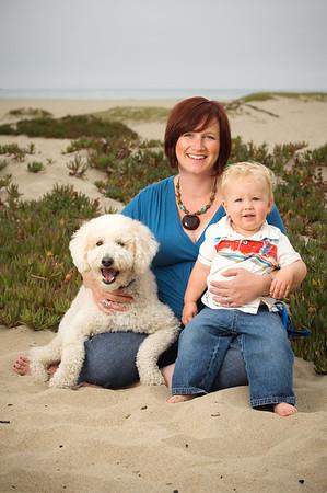 Kelly + Ron = Parker (+ Elliott the Labradoodle) (Family and Pet Photography, Seabright Beach, Santa Cruz, California)