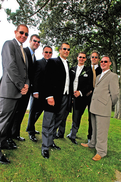 Bride groom and friends, looking cool with shades on