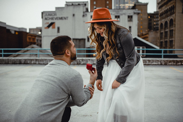 Mariah + Alec Downtown Rooftop Proposal