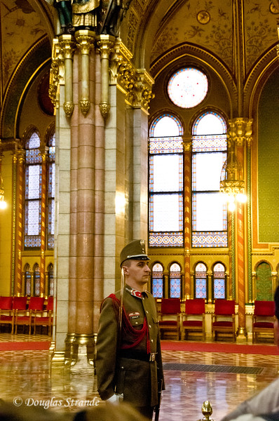 Hungarian Parliament in Budapest:  Guard on duty
