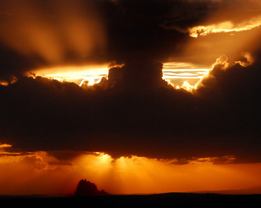Sunset over Shiprock, near Farmington NM.