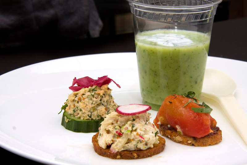 chilled-cucumber-honeydew-soup-and-crostinis-no-tuna-saladperch-trout-pickerel-king-clip-chicken-salad-slow-roasted-tomato-and-goat-cheese-from-loc-gourmet_3623634106_o.jpg