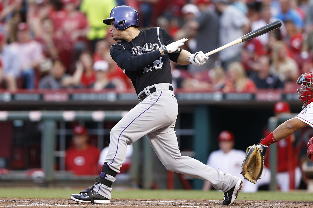 . CINCINNATI, OH - MAY 9: Nolan Arenado #28 of the Colorado Rockies grounds out in the top of the fourth inning of the game against the Cincinnati Reds at Great American Ball Park on May 9, 2014 in Cincinnati, Ohio. (Photo by Joe Robbins/Getty Images)