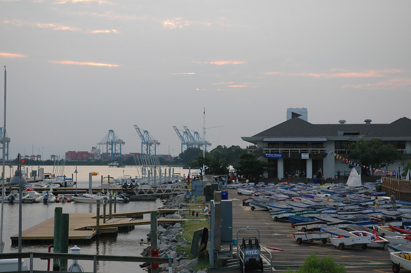 The view of Norfolk Yacht and Country Club as the sun sets from the Laafayette River bridge.