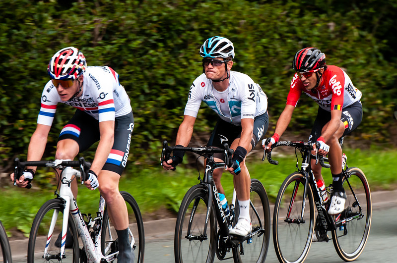 Connor Swift - Madison Genesis, Vasil Kiryienka - Team Sky and James Shaw - Lotto Soudal