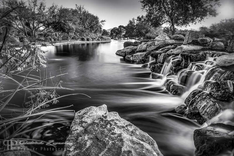 Waterfall Sunset by the Lake B&W.jpg