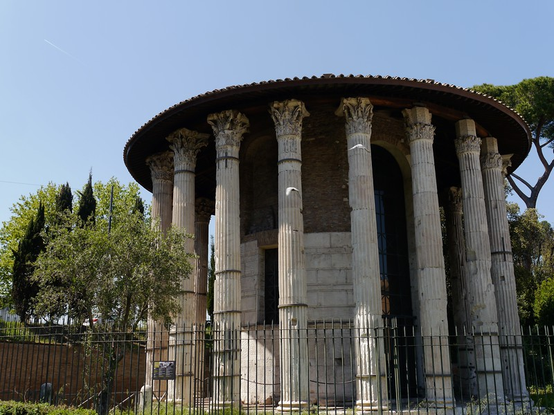 the so called Round Temple in the Forum Boarium (old cattle market) near the Tiber. At the moment it is most often referred to as a temple to Hercules Victor, Very unusual temple design for the Republican era.
