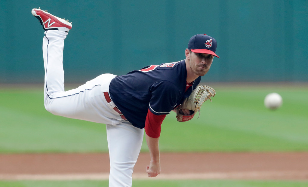 . Cleveland Indians starting pitcher Shane Bieber delivers in the first inning of a baseball game against the Pittsburgh Pirates, Tuesday, July 24, 2018, in Cleveland. (AP Photo/Tony Dejak)