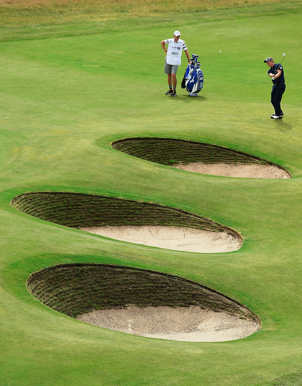 . Luke Donald of England plays a shot to the 18th green during the final round of The 143rd Open Championship at Royal Liverpool on July 20, 2014 in Hoylake, England.  (Photo by Stuart Franklin/Getty Images)