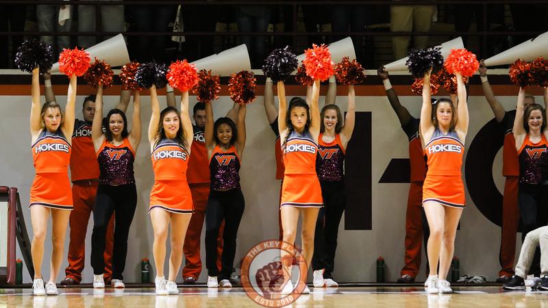 The Virginia Tech cheerleaders wait for a Hokies free throw attempt. (Mark Umansky/TheKeyPlay.com)