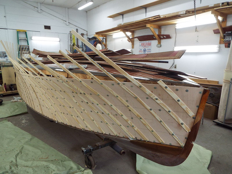 Front starboard view of the plywood skin installed.