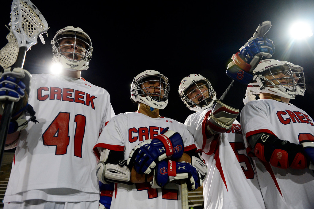 . Cherry Creek players  watch the second half during Cherry Creek\'s 7-6 win.  (Photo by AAron Ontiveroz/The Denver Post)