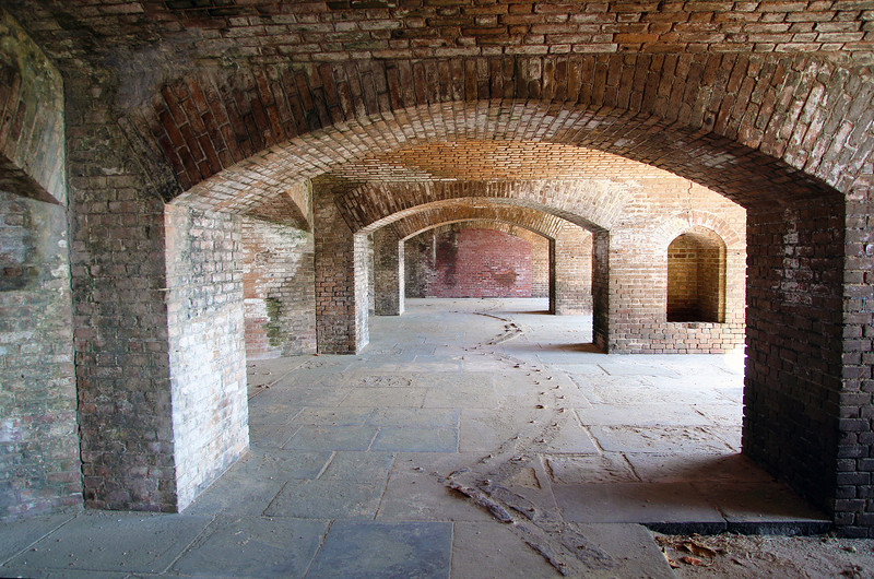 Upper gallery of Fort Jefferson, showing canon rail tracks in the floor