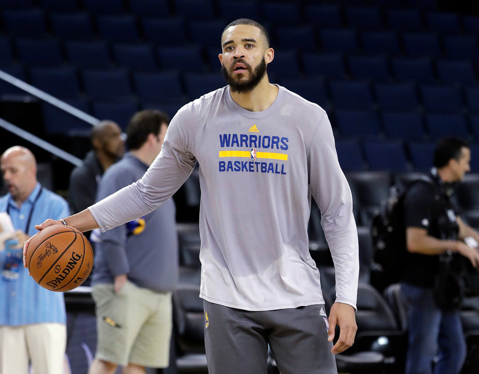 . Golden State Warriors\' JaVale McGee dribbles during an NBA basketball practice, Wednesday, May 31, 2017, in Oakland, Calif. The Golden State Warriors face the Cleveland Cavaliers in Game 1 of the NBA Finals on Thursday in Oakland. (AP Photo/Marcio Jose Sanchez)