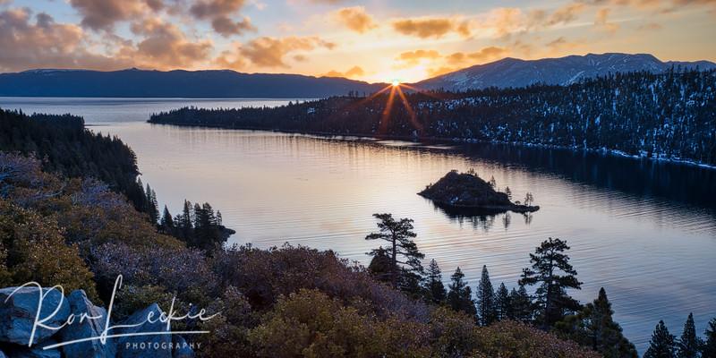 Winter Sunrise over Emerald Bay, lake Tahoe