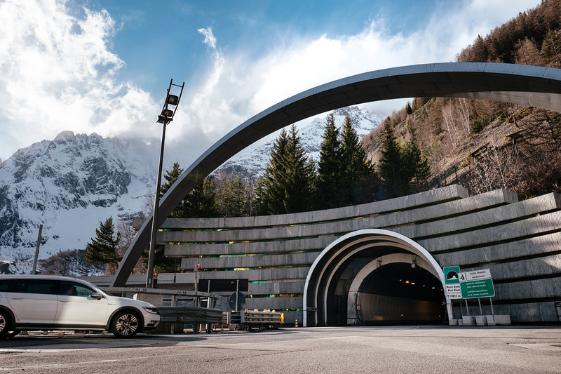 Tunnel du Mont-Blanc italian access, italian side, top left is the Mont-Blanc mountain (peak is not visible) - Samuel Zeller for the New York Times