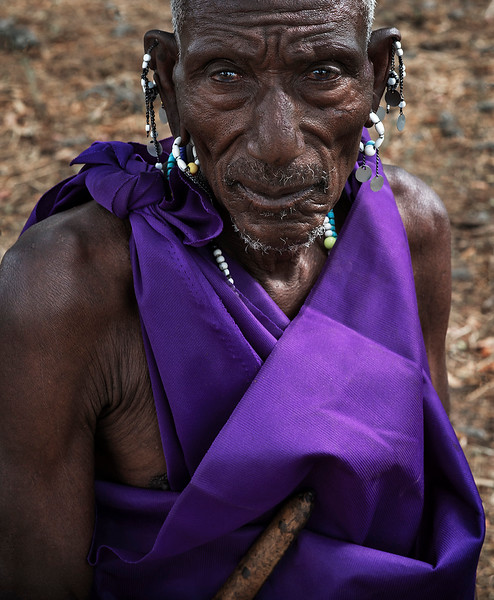 Portrait of a Masai village elder.  Tanzania, 2019