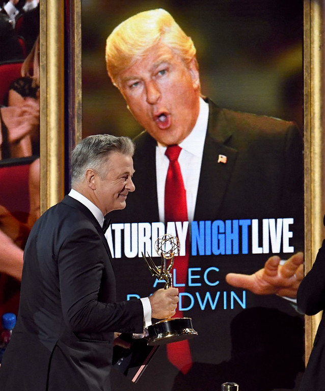 . LOS ANGELES, CA - SEPTEMBER 17:  Actor Alec Baldwin accepts Outstanding Supporting Actor in a Comedy Series for \'Saturday Night Live\' onstage during the 69th Annual Primetime Emmy Awards at Microsoft Theater on September 17, 2017 in Los Angeles, California.  (Photo by Kevin Winter/Getty Images)