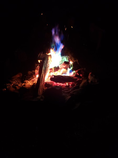 Saturday's campfire with special color-adding fire powder