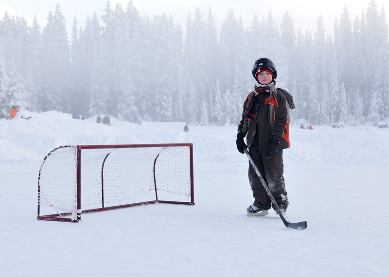 Conor playing goal at Lake Louise