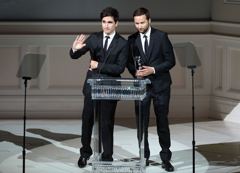. Proenza Schouler designers Lazaro Hernandez (L) and Jack McCollough accept the Womenswear Designer of the Year award at the 2013 CFDA FASHION AWARDS Underwritten By Swarovski - Show at Lincoln Center on June 3, 2013 in New York City.  (Photo by Theo Wargo/Getty Images)