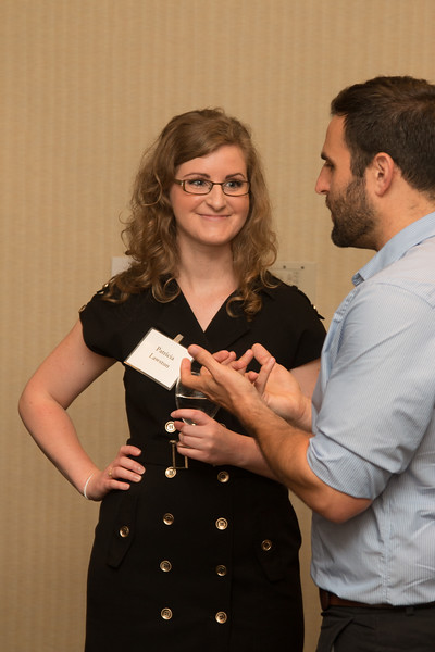 """Patricia Lawston chats with Daniel Brack -- An award luncheon, """"Dr. John Mather Nobel Scholars Program Award"""", as part of the National Council of Space Grant Directors and the Maryland Space Grant Consortium, Greenbelt, MD July 28, 2017"""