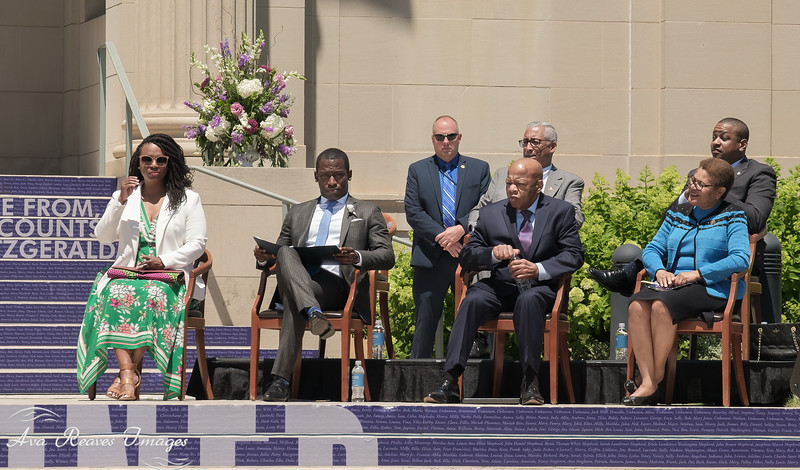 L-R, Congresswoman Ayanna Pressley, Richmond Mayor Levar Stoney, Cong. John Lewis, Congressional Black Caucus Chair Karen Bass; back row Cong. Bobby Scott and Virginia Lt. Gov. Justin Fairfax
