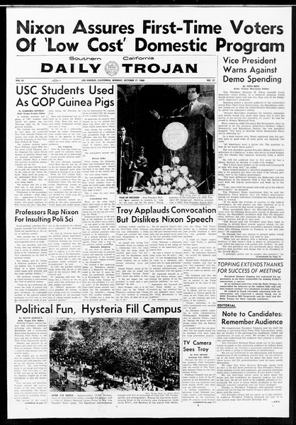 Daily Trojan, Vol. 52, No. 21, October 17, 1960