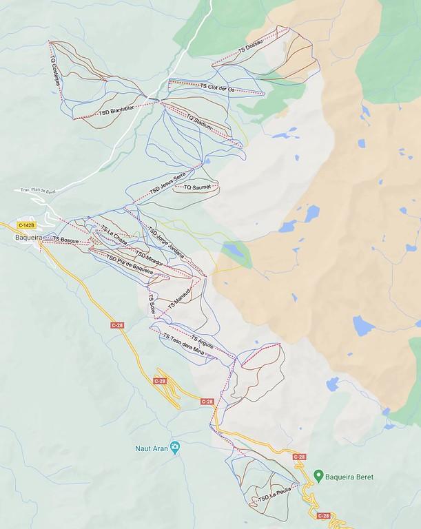 Ejemplo de mapa de pistas en Google Maps