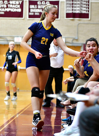 11/14/2018 Mike Orazzi | Staff Woodstock Academy's Amelia Large (21) during the Class L Semifinal State Girls Volleyball Tournament held at Windsor High School Wednesday night.