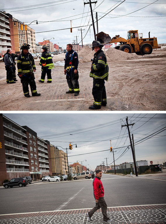 . LONG BEACH, NY - OCTOBER 31:  (top) Fire fighters walk the streets of Long beach, which experienced heavy flooding and dune erosion due to Hurricane Sand October 31, 2012 in Long Beach, New York.  LONG BEACH, NY - OCTOBER 22:  (bottom)   A  man crosses the street in Long Beach, New York Octobter 22, 2013.  Hurricane Sandy made landfall on October 29, 2012 near Brigantine, New Jersey and affected 24 states from Florida to Maine and cost the country an estimated $65 billion.  (Photos by Andrew Burton/Getty Images)