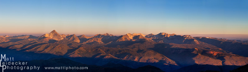 Sunrise on the east side of the White Clouds from the summit of Bowery Peak. Native image dimensions - 20 x 68