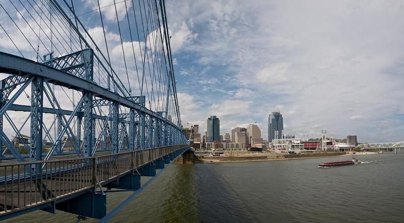 Cincinnati Skyline - Roebling Suspension Bridge