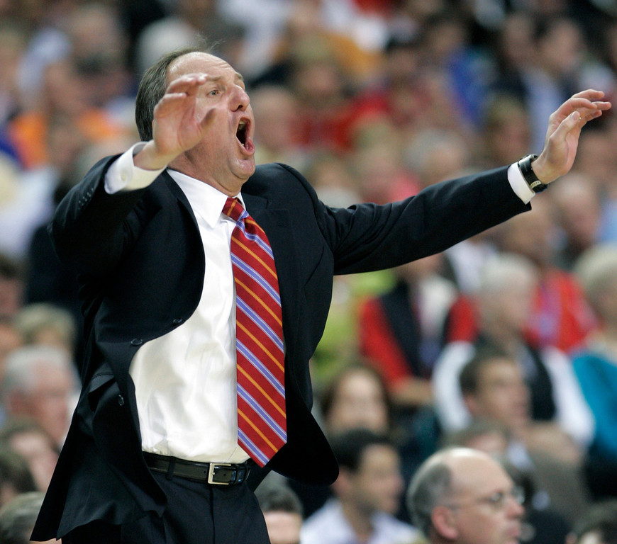 . Ohio State coach Thad Matta yells to his team during their men\'s semifinal basketball game at the Final Four in the Georgia Dome in Atlanta Saturday, March 31, 2007. (AP Photo/Mark Humphrey)