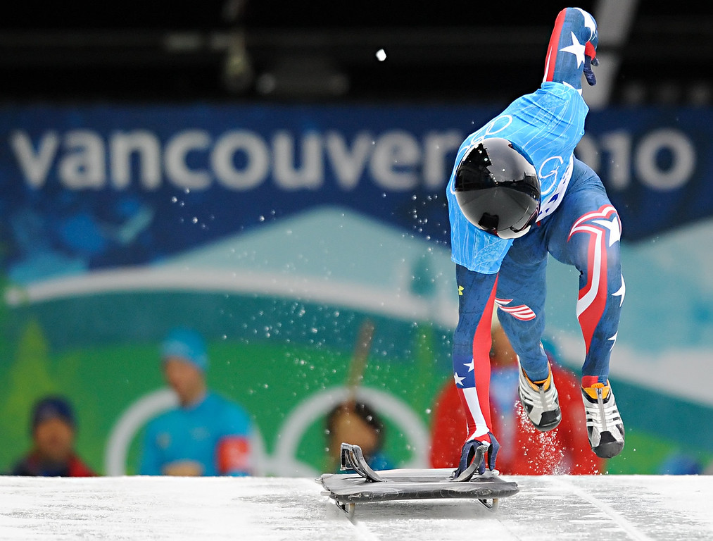 . John Daly of the USA begins his first run of the men\'s skeleton training heats at the Whistler Sliding Centre on February 15, 2010 during the Vancouver Winter Olympics. AFP PHOTO / Leon Neal