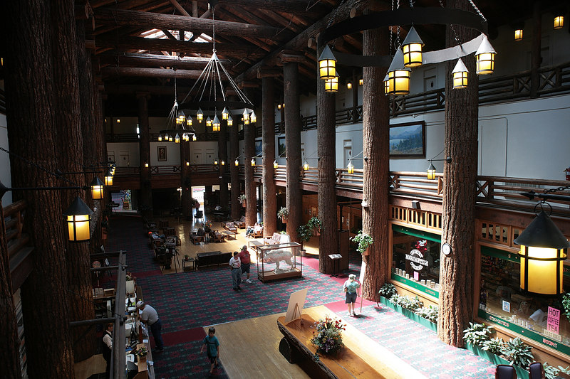 This is the lobby of the lodge in East Glacier.  Notice the huge trees as support columns.